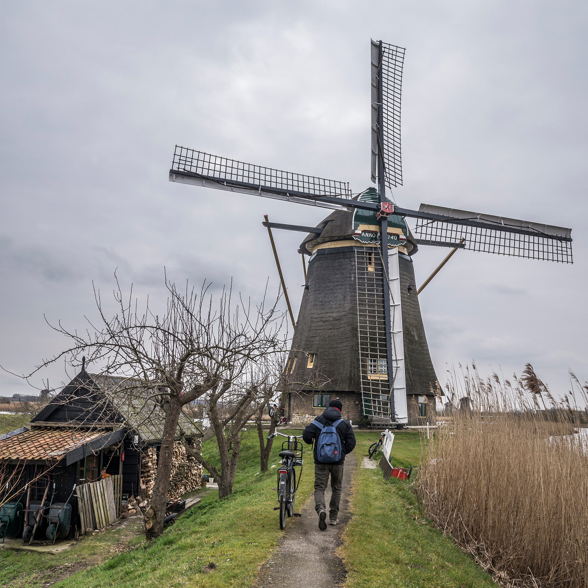 Peter Paul Klapwijk lives with his family in a historic windmill at Kinderdijk. He is a licensed miller and gives tours of the UNESCO site next door. (Photo by Joris van Gennip/GroundTruth)