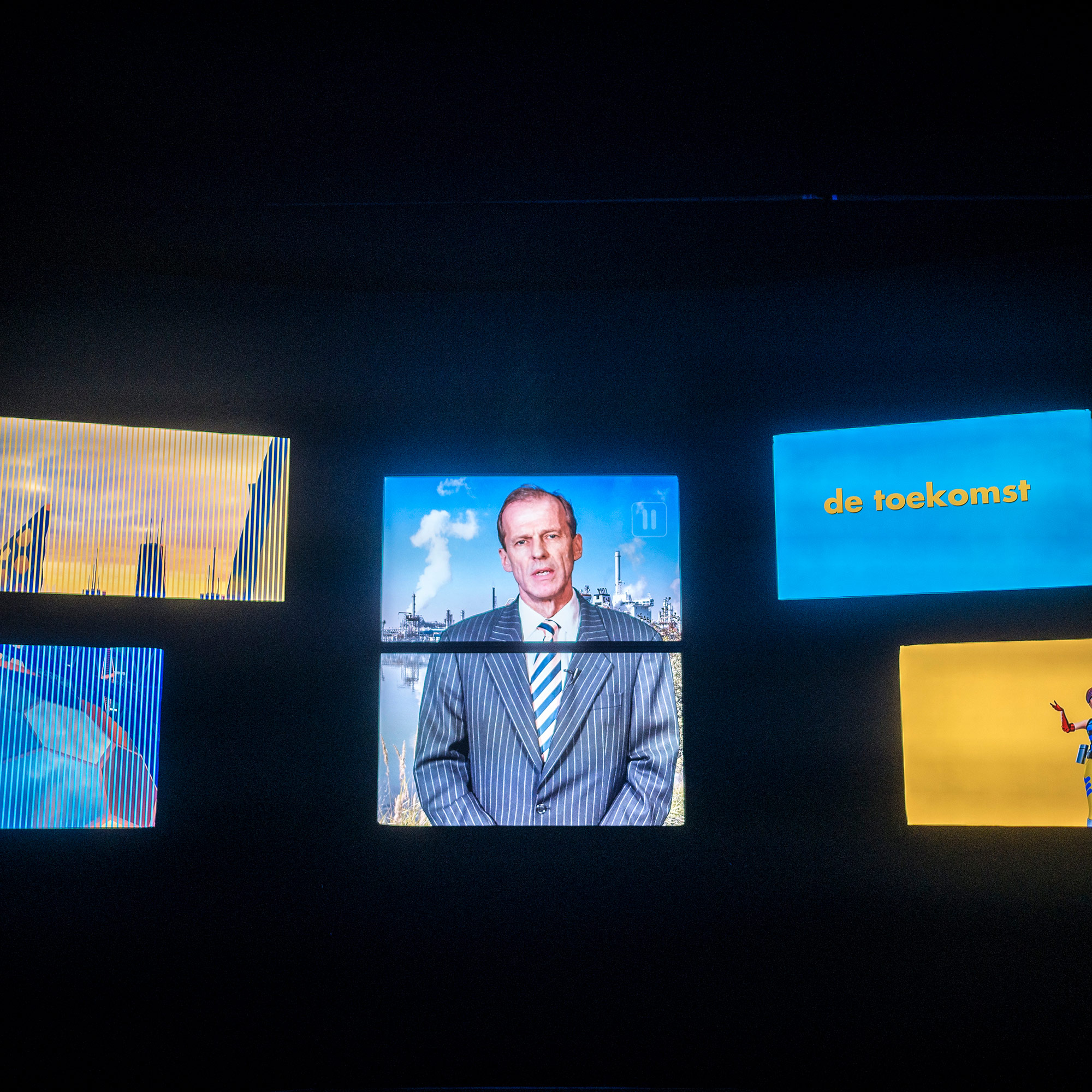 Allard Castelein, president of Rotterdam Port, is talking about the future of Rotterdam's Maasvlakte 2 (the newest and most modern addition to the port) in a video at Futureland, the visitor center of Maasvlakte 2. (Photo by Joris van Gennip/GroundTruth)