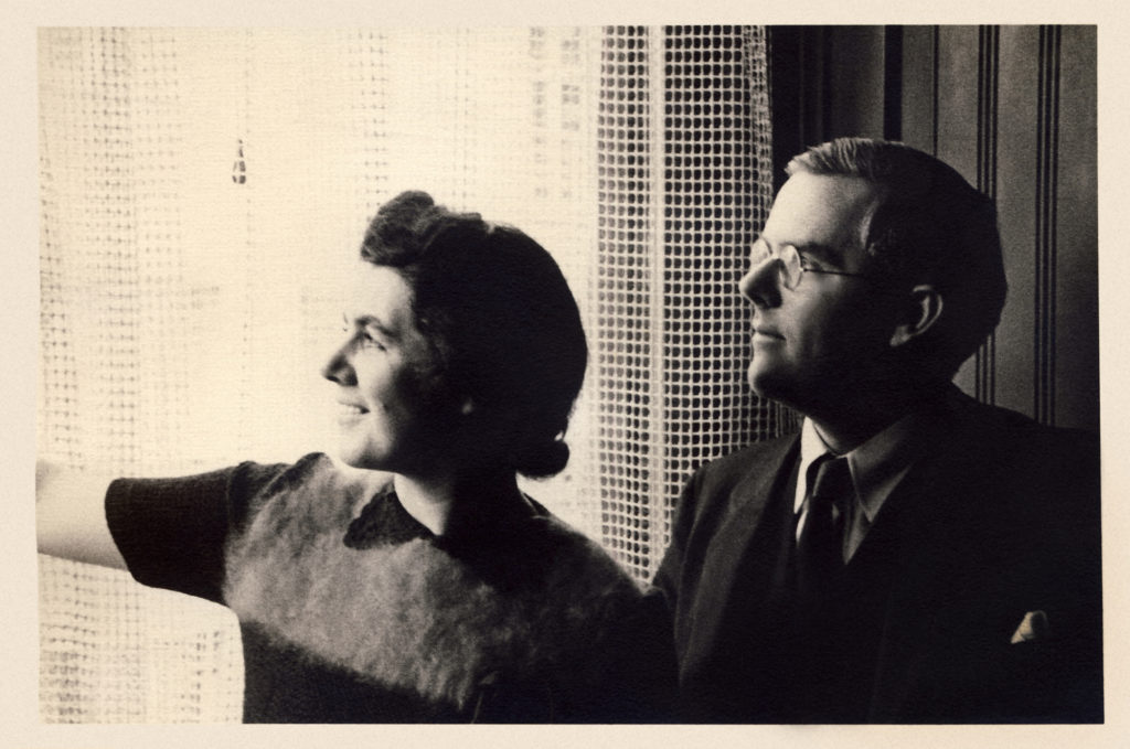 Martha and Waistill Sharp pose in their home in Wellesley, MA in 1938. (Photo via Sharp Family Archives)