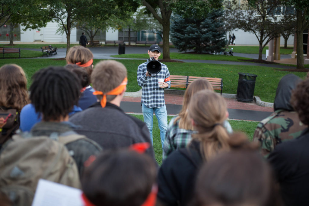 Northeastern students gathered at the camp site and discussed divestment Tuesday evening. (Photo by Alastair Pike/GroundTruth)