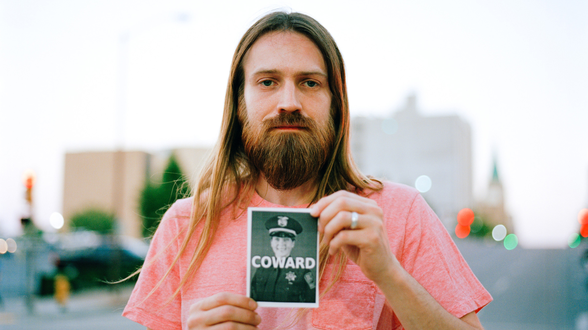 Zach Miller, 33, protests police in Tulsa, Oklahoma. (Photo by Edwin Torres/GroundTruth)
