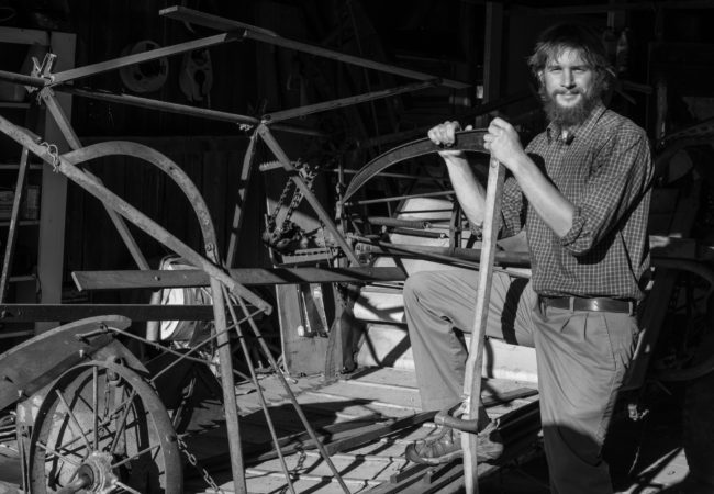 Stuart Soboleski poses in his workshop in Albany, Vermont. (Photo by Ben Brody/GroundTruth)