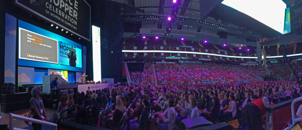 Thousands of women in the tech industry gathered at the Grace Hopper Celebration of Women in Computing in Houston, Texas, this week. (Photo by Rachel Rohr/GroundTruth)
