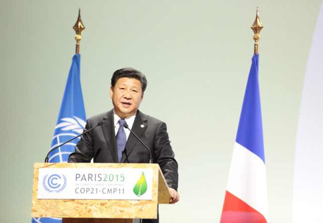 China's president, Xi Jinping, spoke at the U.N. Conference of the Parties in 2015, where he and U.S. President Barack Obama backed a historic climate change agreement in Paris. (Photo by UNclimatechange/Flickr User)