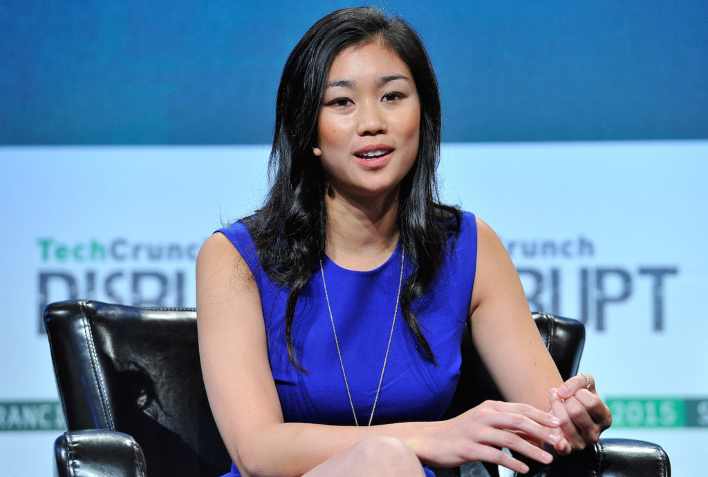 Tracy Chou, one of the co-founders of Project Include, speaks at TechCrunch Disrupt 2015. (Photo by Steve Jennings/Getty Images for TechCrunch)