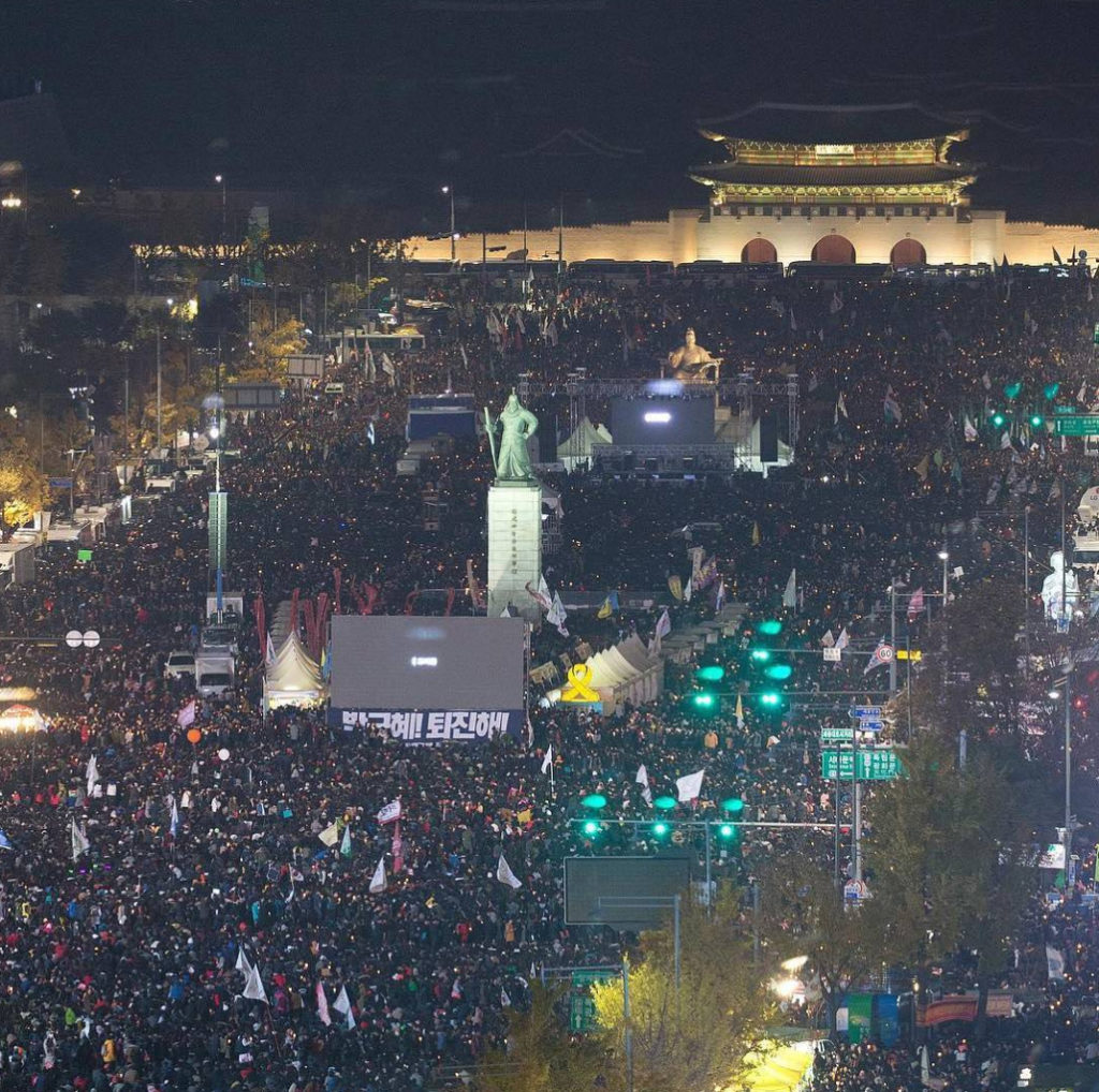 Hundreds of thousands – and by some estimates, millions – of protesters have turned out for six consecutive weekends, calling on President Park Geun-hye to resign. (Photo by bhd_h/Instagram User)