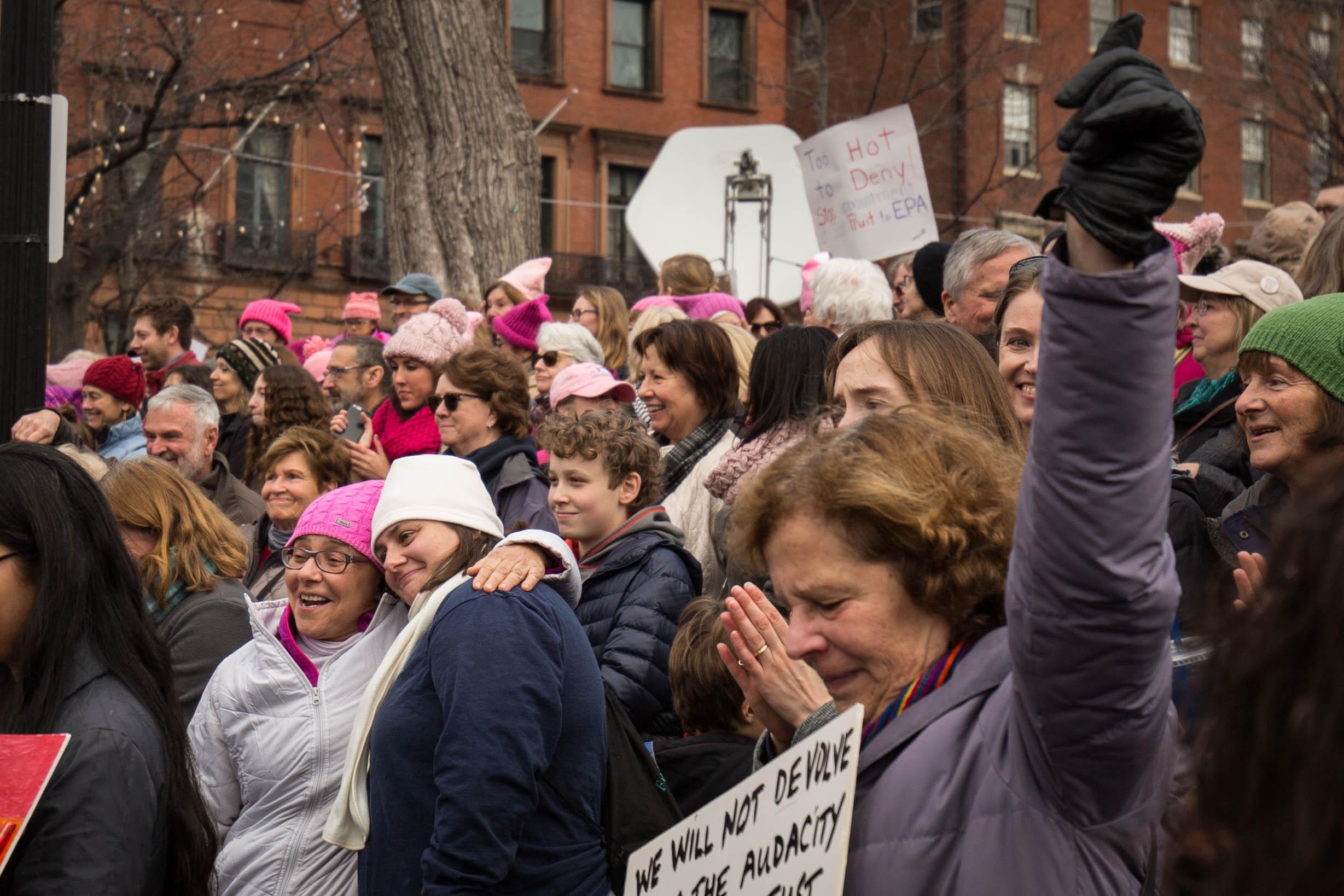 Participants react when Massachusetts Sen. Elizabeth Warren's speaks during the Boston Women's March on Jan. 21, 2017. (Photo by Alastair Pike)