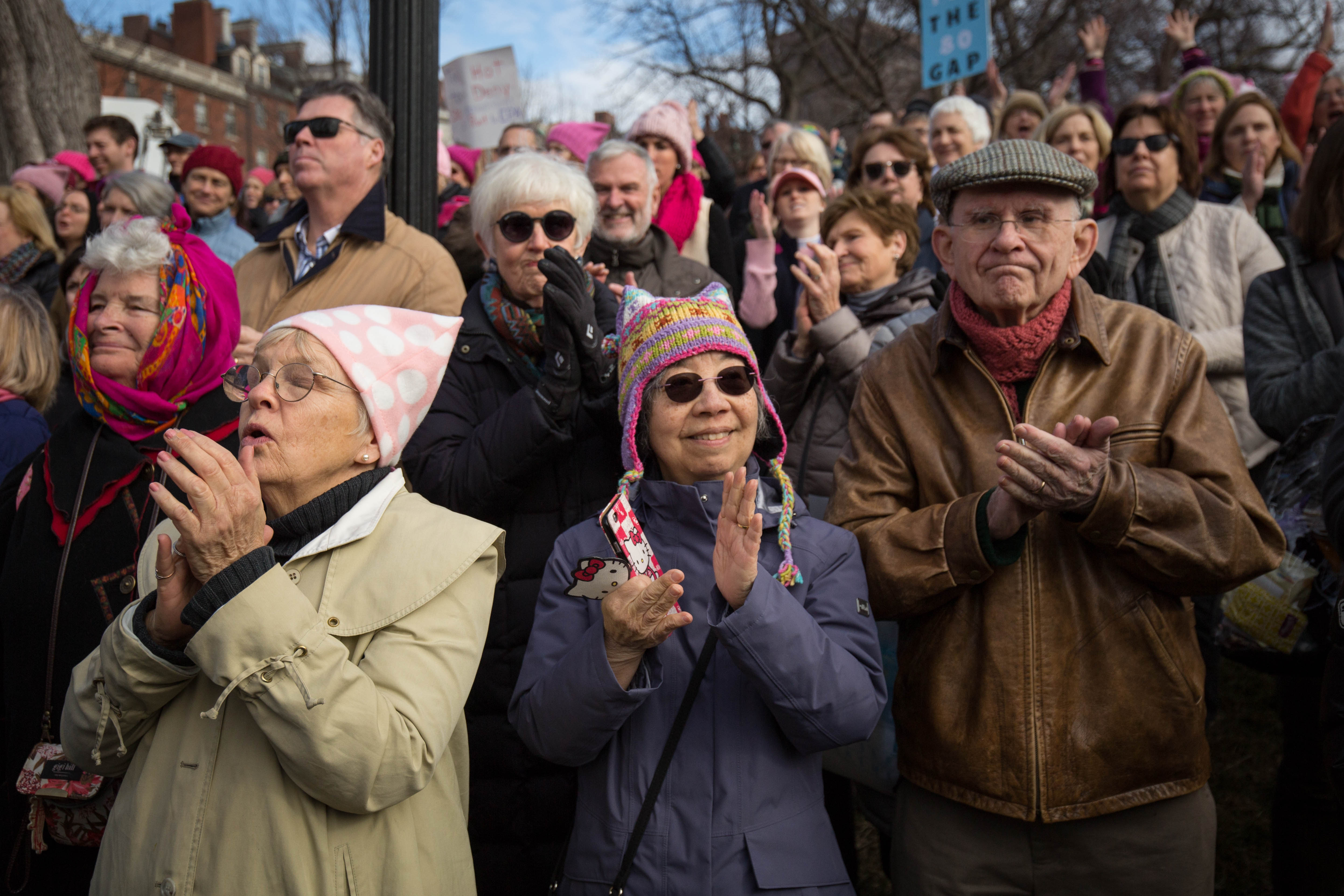 Participants react to a speech at the Boston Women's March on Jan. 21, 2017. (Photo by Alastair Pike)