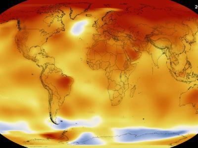 Data visualization of 2016 global temperatures. (Credit: NASA)