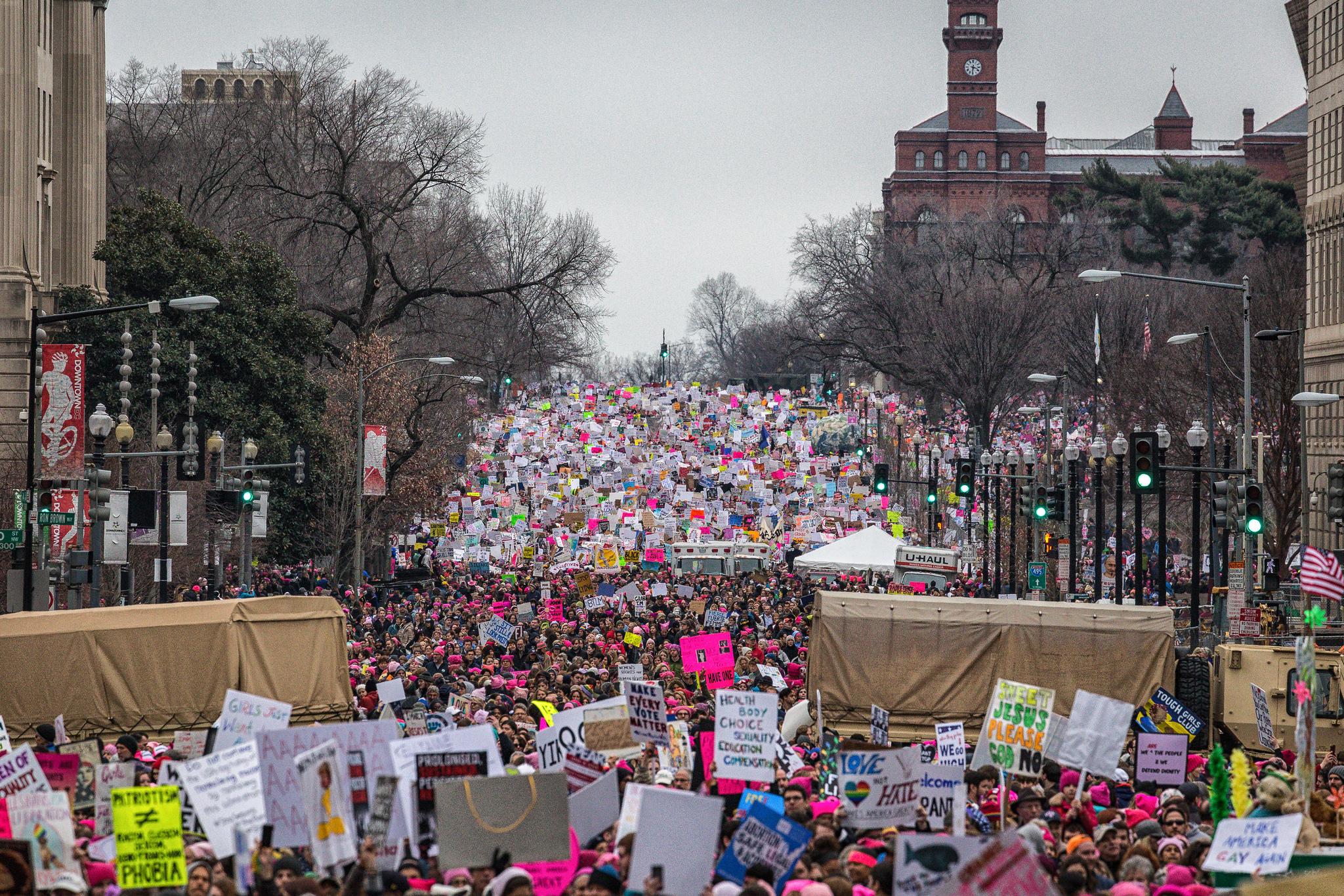 Thousands marched in the name of women's rights and a list of other major causes on Jan. 21, 2017 in Washington D.C., where an estimated crowd size of 485,000 people or more gathered. (Photo by Mobilus In Mobili/Flickr User)