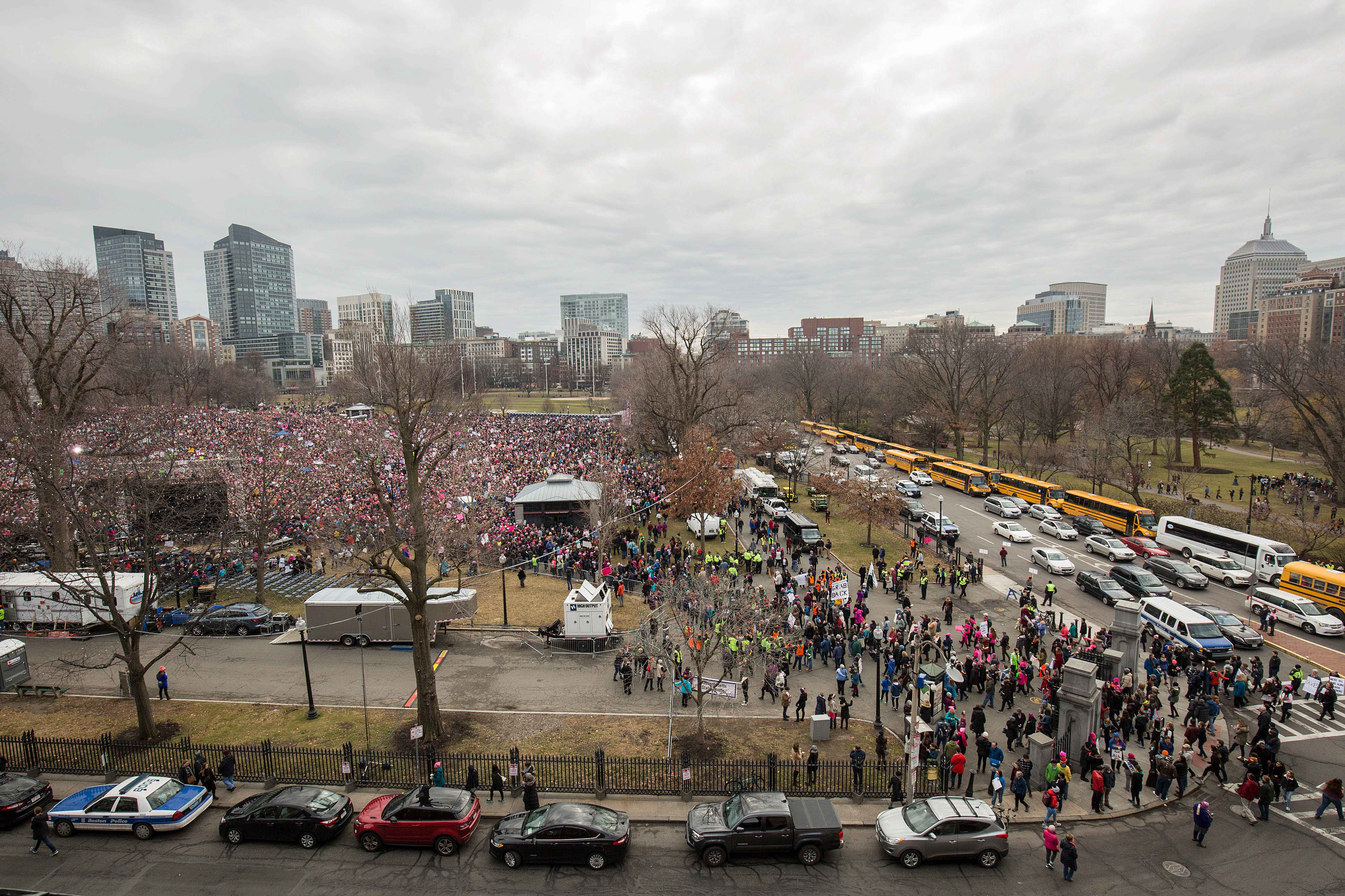 An estimated 37,000 people attended the Women's March in Boston on Jan. 21, 2017. (Photo by Alastair Pike)