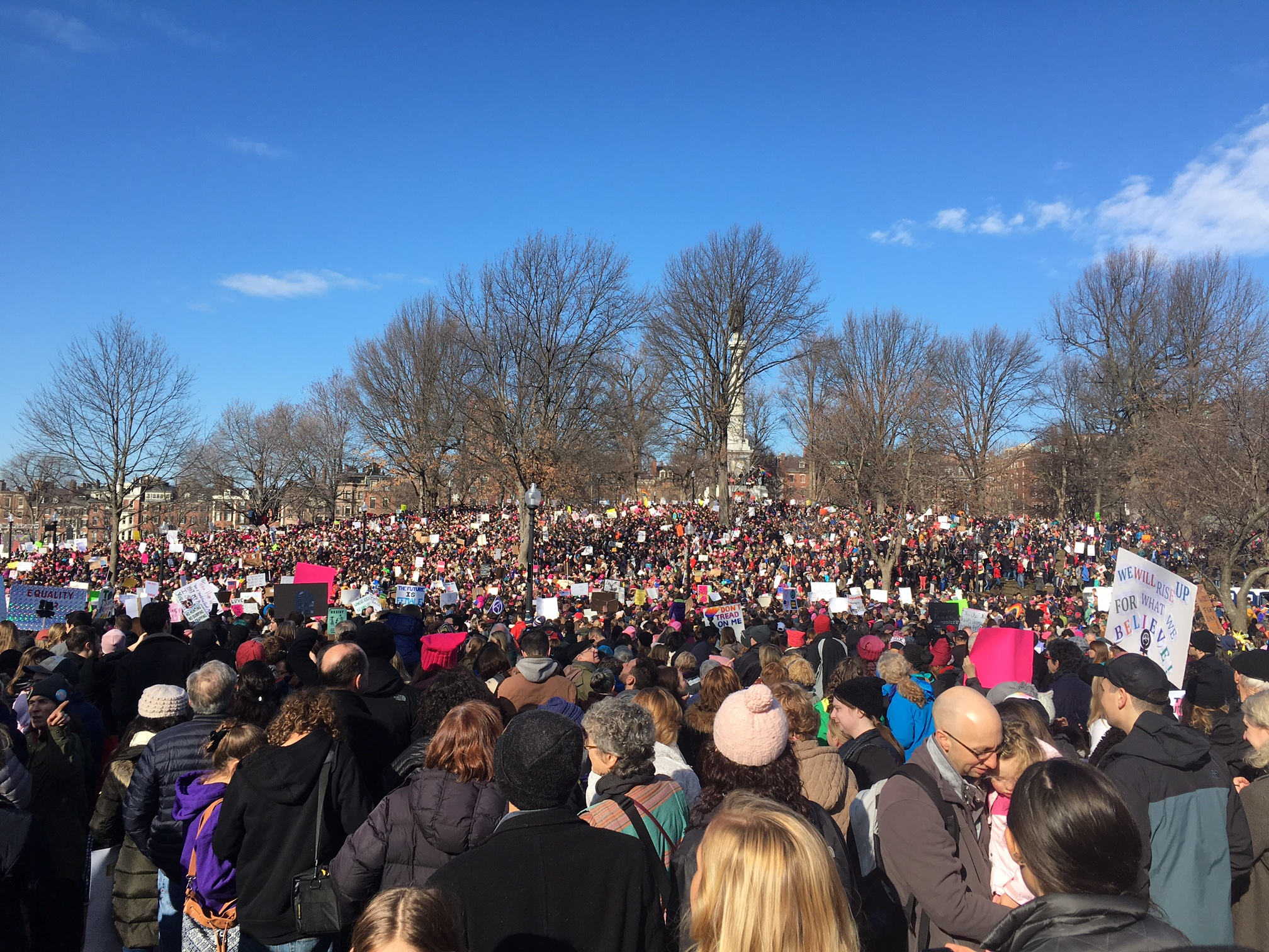 An estimated 37,000 people participated in the Women's March in Boston on Saturday. (Photo by Kelly Kasulis/GroundTruth)