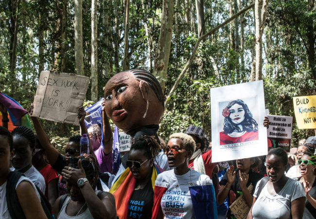 """As many as 500 people turned out for a """"sister march"""" in the Kenyan capital, the crowd a diverse mix of Americans, Kenyans, and sympathetic expats of other nationalities united in concern about changes promised by President Donald Trump -- and what those changes could mean for gender inequality, human rights, and progressive policies globally. (Photo by Nichole Sobecki/GroundTruth)"""