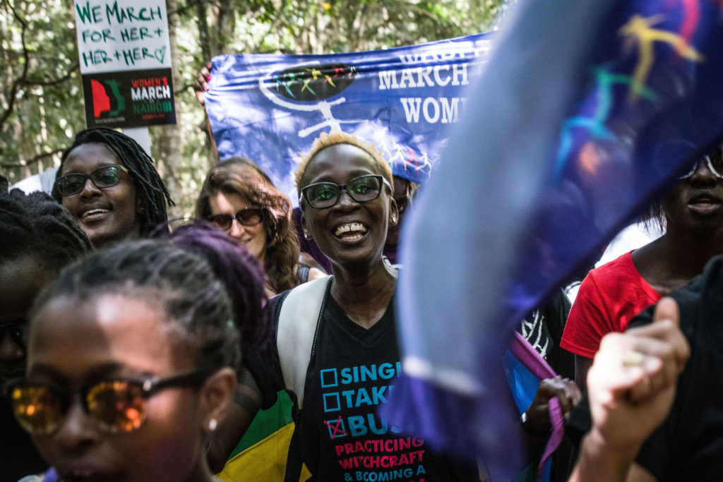 "People participate in a ""sister march"" in the Kenyan capital of Nairobi on January 21, 2017. (Photo by Nichole Sobecki/GroundTruth)"