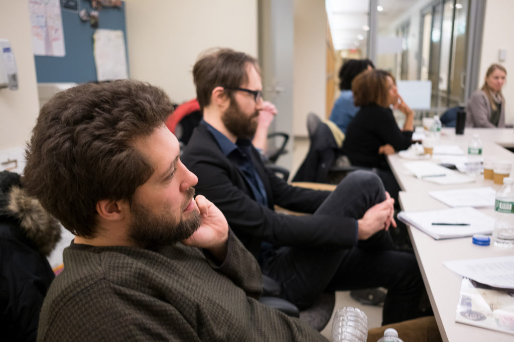 From left, GroundTruth fellows Joaquin Cotler and Michael O'Brien are pictured during a training workshop for the health podcast fellowship. (Edwin J. Torres/GroundTruth)