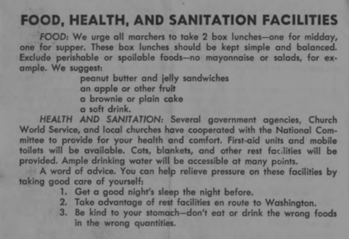 Excerpt from a program preparing protestors for the March on Washington for Jobs and Freedom. (Photo via The King Center)