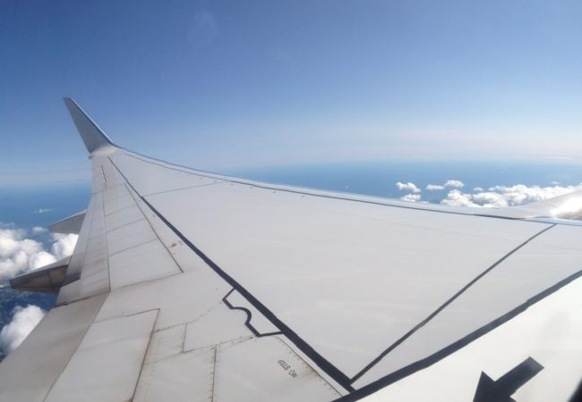 View from the window of an airplane.