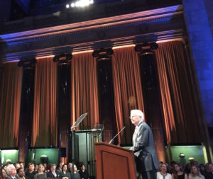 Veteran journalist Bill Moyers addresses the 75th duPont-Columbia Awards. (Photo by Kevin Grant/GroundTruth)