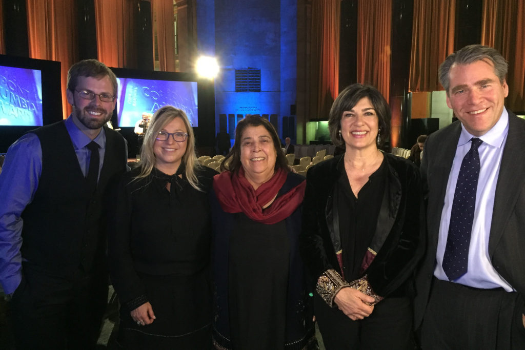 From left: Kevin Grant, managing editor of GroundTruth; Beth Murphy, director of GroundTruth Films; Razia Jan, founder of Razia's Ray of Hope Foundation; Christiane Amanpour, chief international correspondent for CNN; and Charles Sennott, executive director of The GroundTruth Project, are pictured at the 2017 Alfred I. duPont-Columbia University Awards.