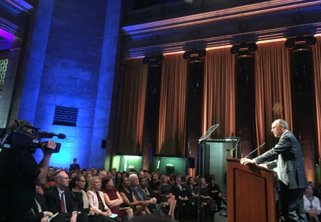 NBC Nightly News anchor Lester Holt addresses the 75th duPont-Columbia Awards. (Photo by Kevin Grant/GroundTruth)