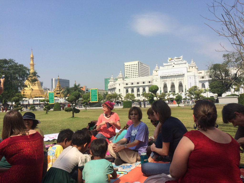 "The ""Solidarity Picnic"" drew a mix of expats and locals to downtown Yangon. (Photo by Nan Tin Htwe/GroundTruth)"