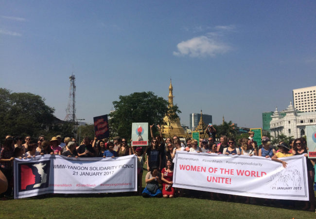 About 70 people gathered in downtown Yangon, Myanmar to show support for the Women's March on Washington and sister marches around the world. (Photo by Nan Tin Htwe/GroundTruth)