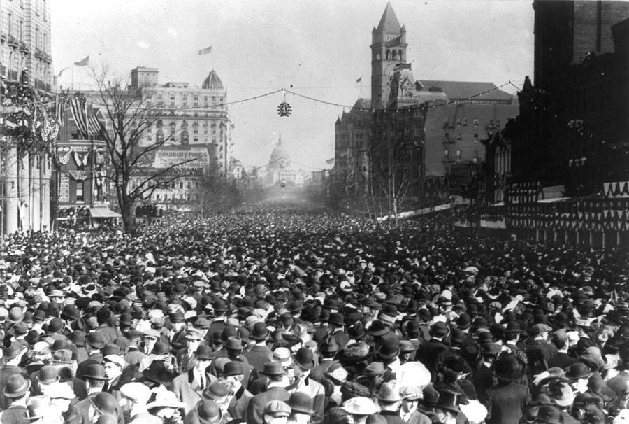 On March 3, 1913, Suffragists marched in massive crowds down Pennsylvania Avenue in Washington, D.C. (Photo via Library of Congress)