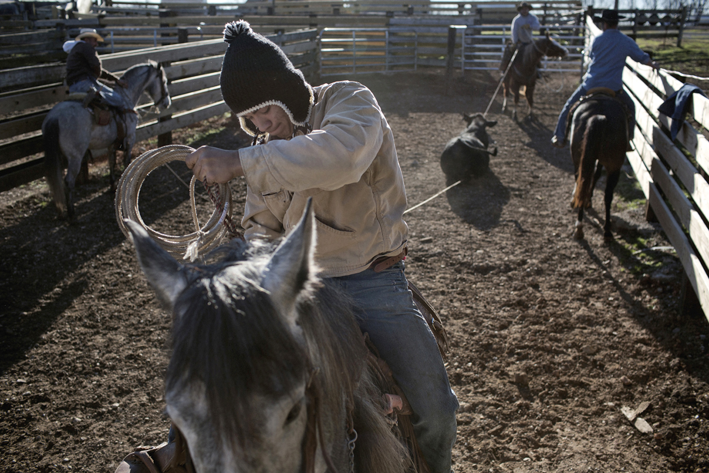 Marcos Espinoza, 17, practices his roping skills on a family trip to a ranch in the outskirts of Bowling Green, Kentucky. Roping is an essential skill for a true ranchero, since rancheros sometimes need to catch the cattle in order to give them medicine or slaughter them. (Photo by Betina Garcia/GroundTruth)