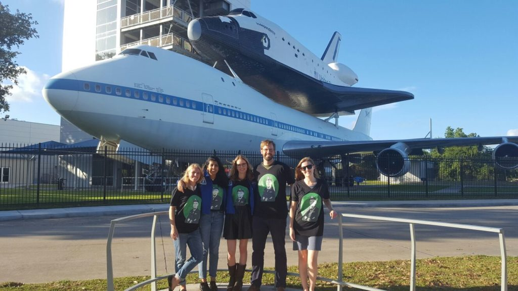 GroundTruth's Rachel Rohr (far right) and Kevin Grant (second from right) stand outside of NASA's Johnson Space Center with the 2016 Women in Tech Fellows.