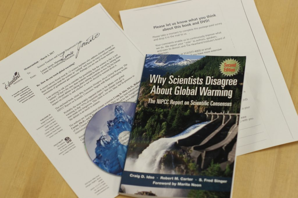 "The Heartland Institute says it will send the book ""Why Scientists Disagree About Global Warming"" to every public school science teacher in the nation. (Photo by Brenna Verre/FRONTLINE)"