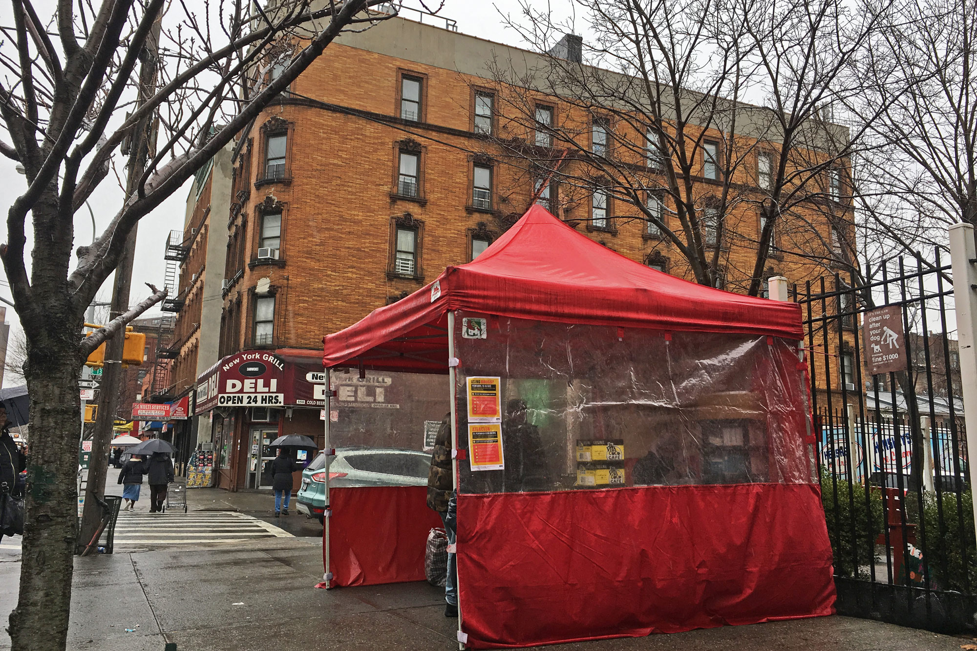 St. Ann's Corner has pitched tents on 139th Street in New York since the 1990s. (Photo by Michael O'Brien/GroundTruth)