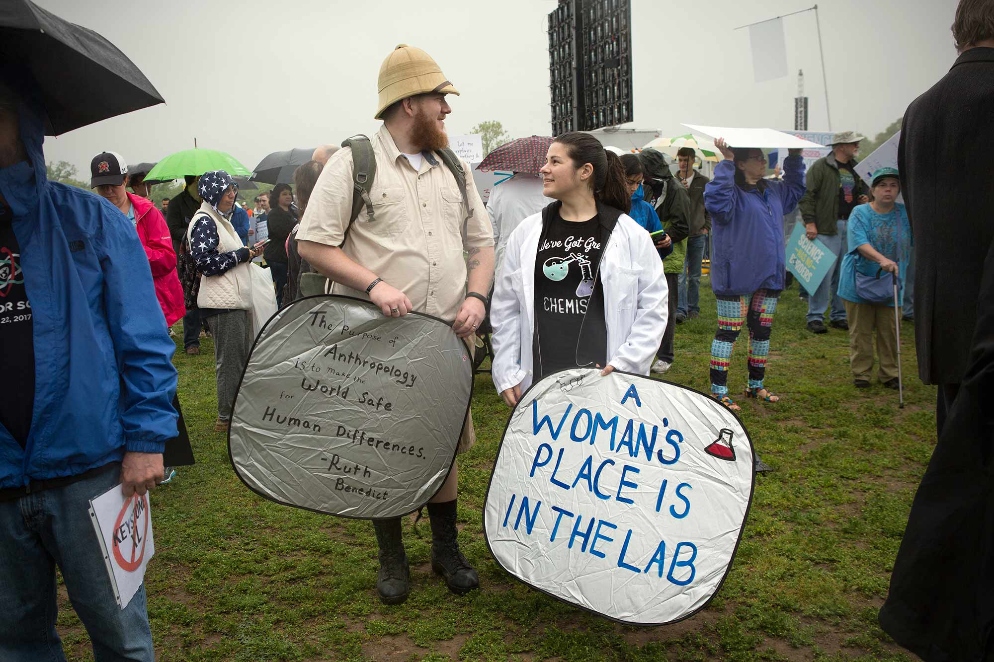 """""""A woman's place is in the lab,"""" reads a sign at the science march in Washington, DC."""