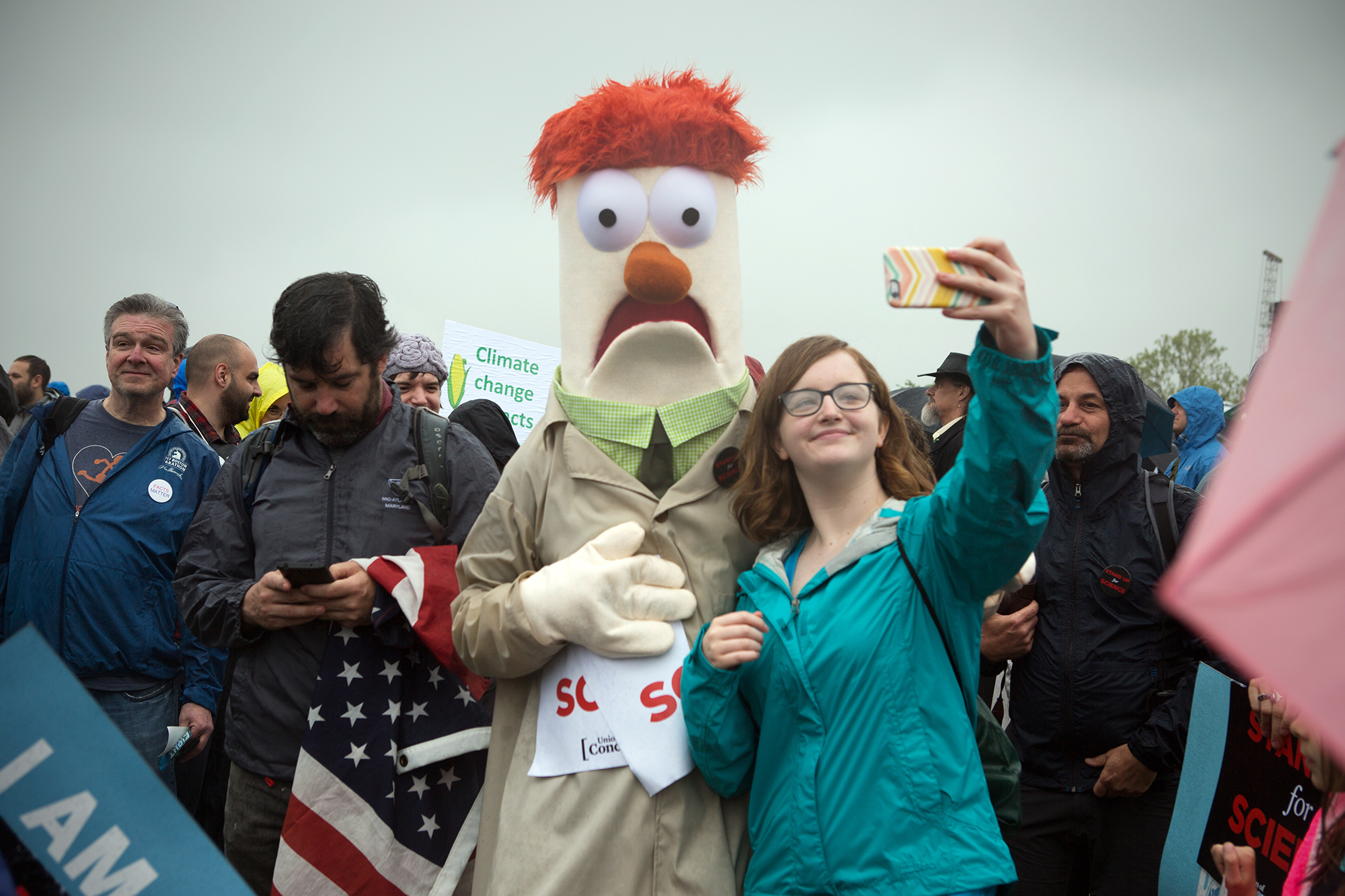 Woman takes a selfie at the Science March