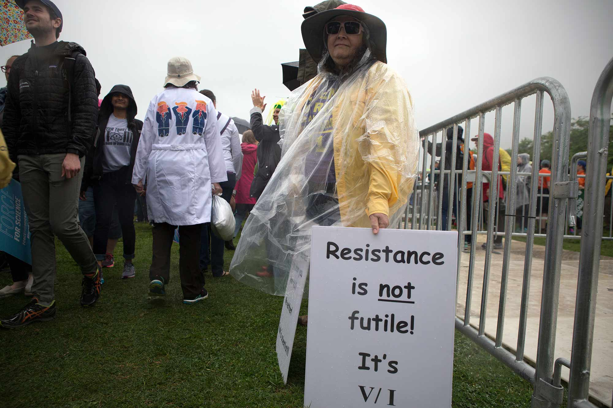 """""""Resistance is not futile,"""" one sign at the Science March in DC says."""