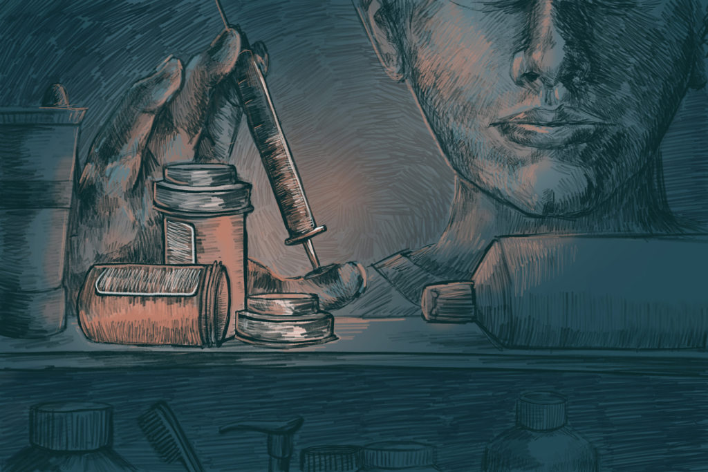 Image of pill bottles and heroin needle. (Illustration by Natalie Kenney/GroundTruth)