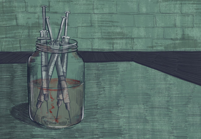 Jar with heroin needles (Illustration by Natalie Kenney/GroundTruth)