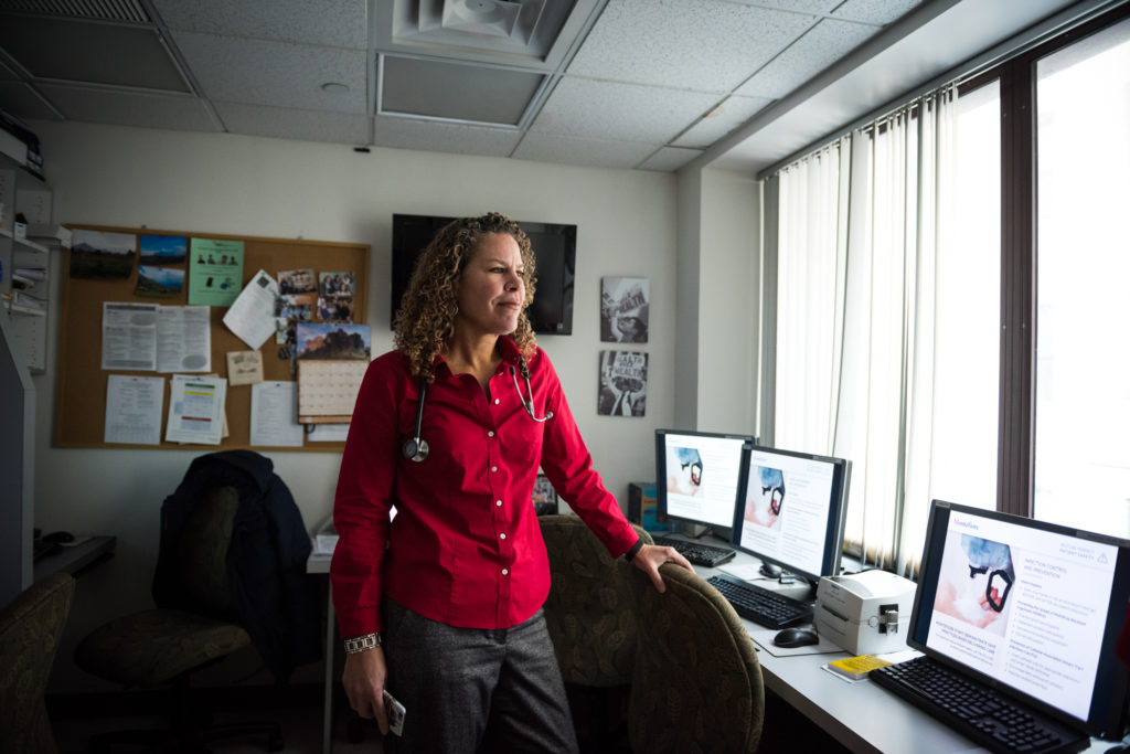Dr. Cunningham, one of the providers on the forefront of the opioid crisis, is on the Mayor's Opioid Task Force. She poses for a portrait in her office at the Montefiore Comprehensive Care Center in the Bronx on Jan. 31, 2017. (Photo by Edwin Torres/GroundTruth)
