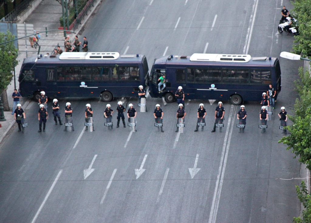 Riot police block roads to parliament in Athens, Greece, during a June 2012 Golden Dawn rally.  (Photo by Steve Jurvetson/GroundTruth)