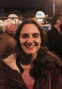 Alexandra Boullet is pictured on election night in Paris. (Photo by Emily Schultheis/GroundTruth)