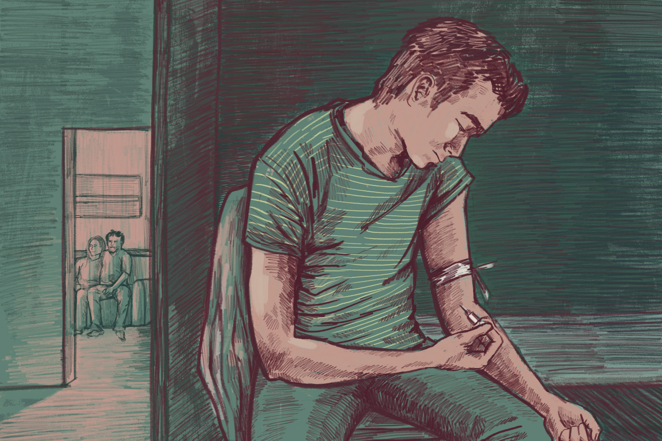 A young man shoots heroin in his bedroom while his parents are in the other room. (Illustration by Natalie Kenney/GroundTruth)