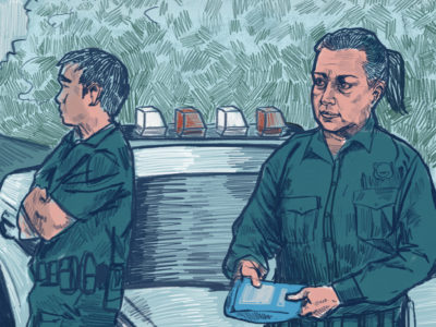 A police officer holds an overdose rescue kit. (Illustration by Natalie Kenney/GroundTruth)