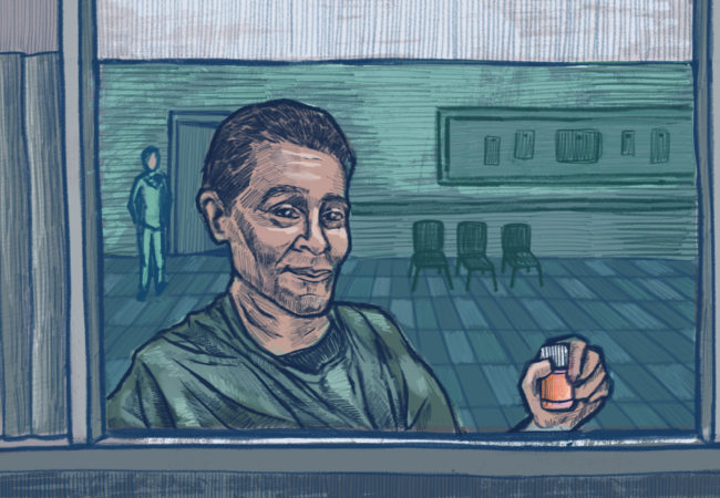 A man holds up his prescription for methadone. (Illustration by Natalie Kenney/GroundTruth)