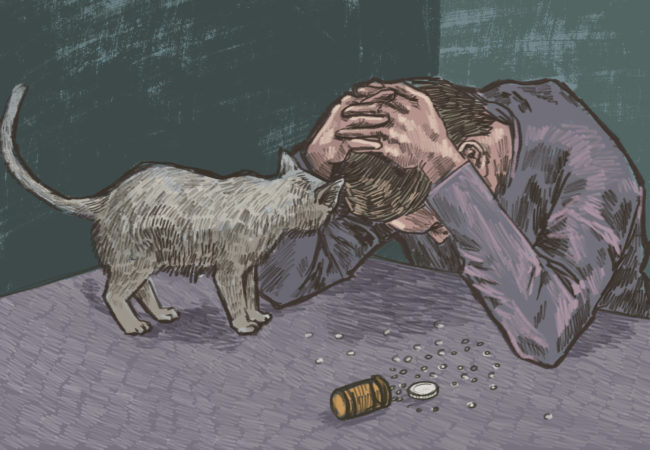 A man holds his head in his hands, over a bottle of pills. (Illustration by Natalie Kenney/GroundTruth)