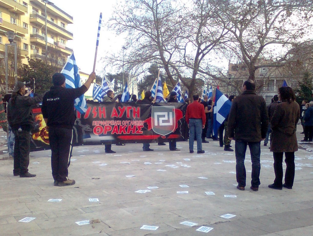 Neonazi group, Golden Dawn, protesting in Greece. Photo by Ggia/Wikimedia Commons