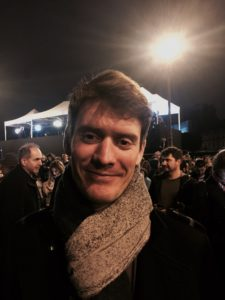 Antoine Le Gleuher is pictured on election night in Paris. (Photo by Emily Schultheis/GroundTruth)