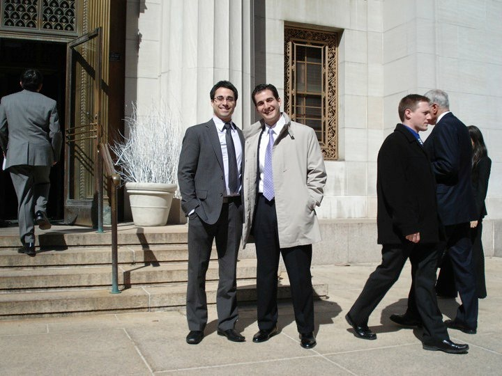 Mike Gippetti (left) outside the Supreme Court of the State of New York. Gippetti, an attorney who graduated at the top of his class, had neck surgery in 2010 and spent the next six years on the long road to recovery. (Photo courtesy of Michael Gippetti)