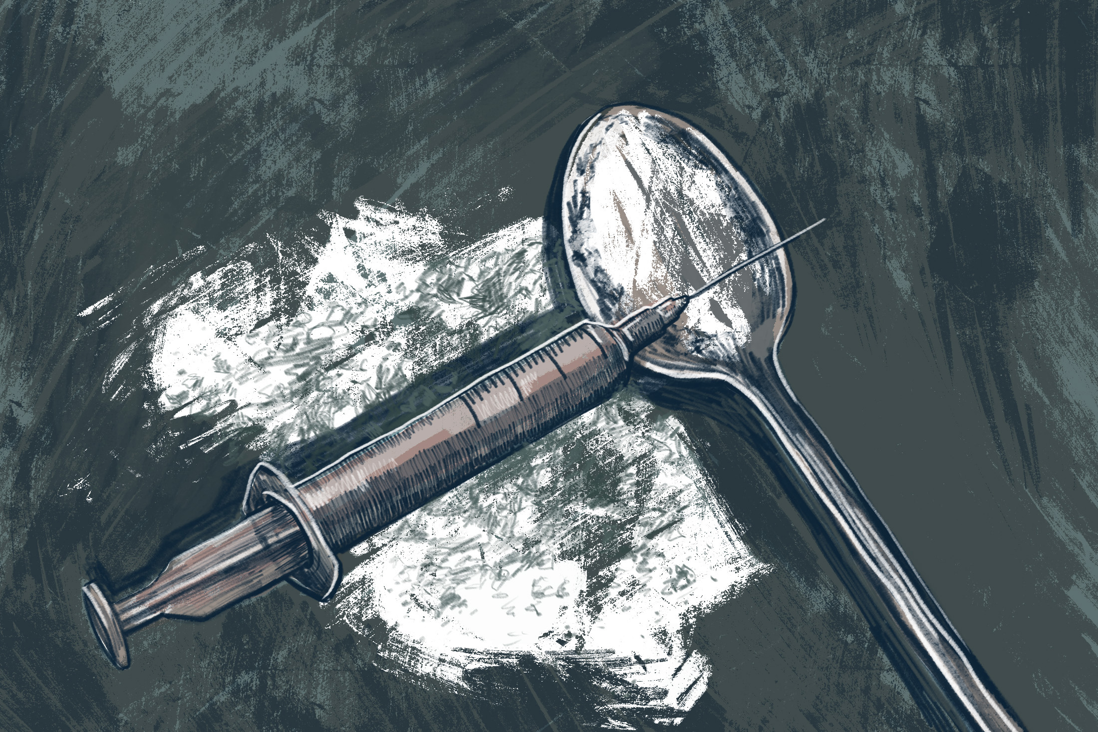 Illustration of heroin needle and spoon (Illustration by Natalie Kenney/GroundTruth)
