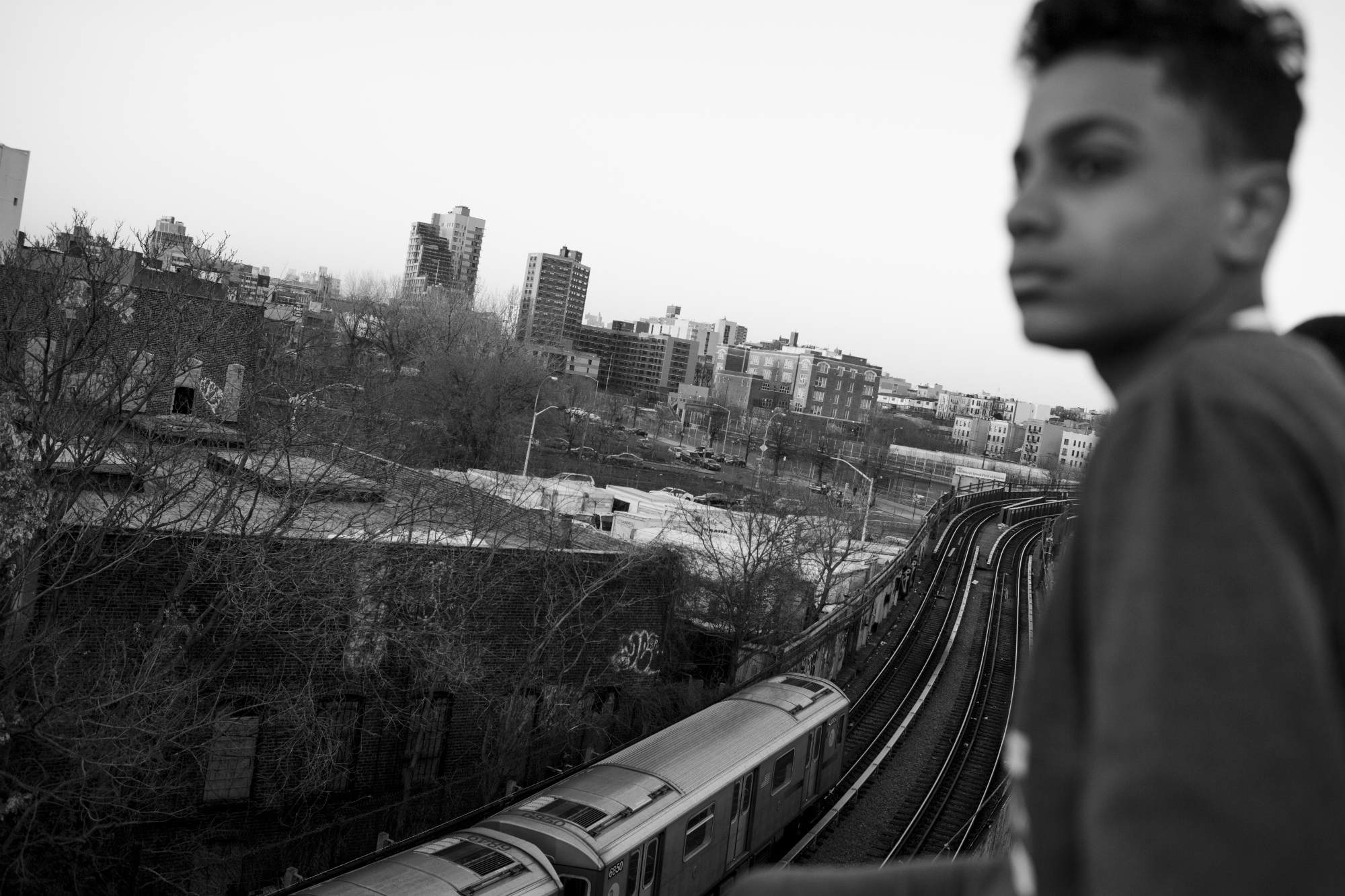 Chavi Leon overlooking his neighborhood of Mott Haven, 14 April 2016, New York. The South Bronx well known for two reasons: it is in the 15th Congressional District, the poorest district in the United States, and it's the 40th Precinct, an NYPD precinct known for its high crime rate. (Photo by Sarah Blesener/GroundTruth/Alexia Foundation)