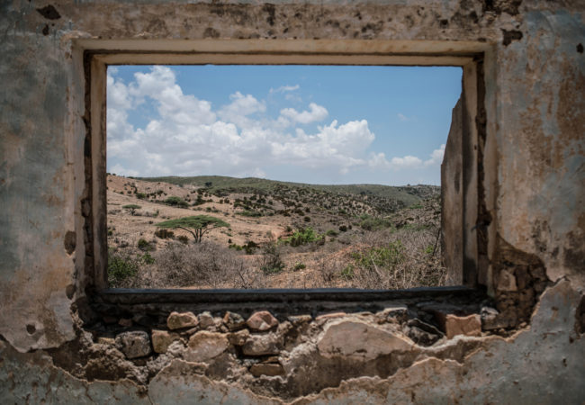Somalia's arid landscape as seen from inside a decaying colonial building in the Somaliland town of Sheikh. (Photo by Nichole Sobecki/GroundTruth)