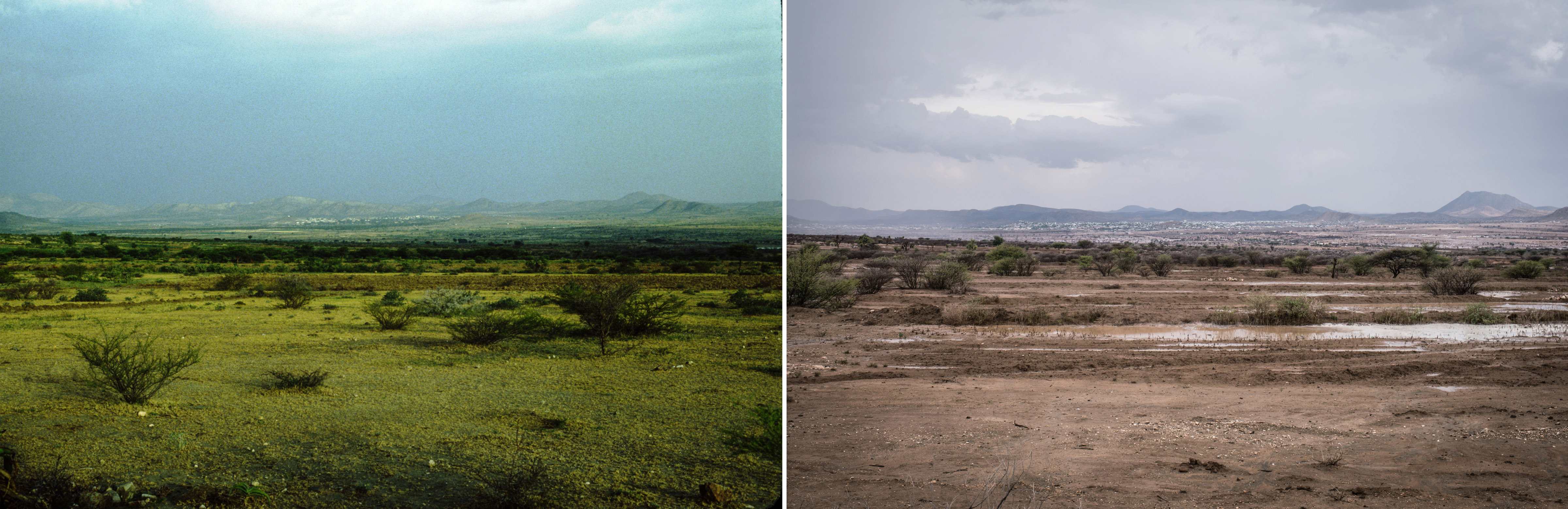 A view of the town of Borama. The image on the left is from Watson's land surveys of Somalia. The image on the rights is of the same site, taken decades later by photographer Nichole Sobecki.